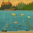 Fishing on the boat. Fishing design elements - 80636548