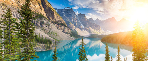 Moraine lake Rocky Mountains panorama © rcfotostock