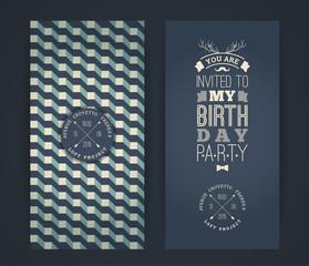Happy birthday invitation, vintage retro background with geometr