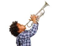 "Постер, картина, фотообои ""Trumpeter playing the blues."""