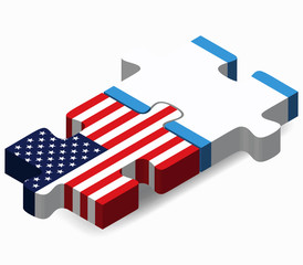 USA and Guatemala Flags in puzzle