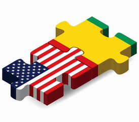 USA and Republic of Guinea Flags in puzzle