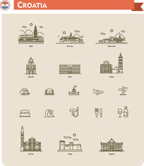 Croatia travel icon set