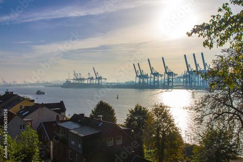 Leinwanddruck Bild Hamburg Elbe Hafen Panorama