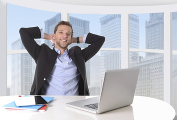 successful businessman at work in business district office