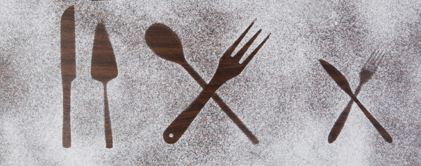 Kitchen equipment and cutlery silhouette designs of flour