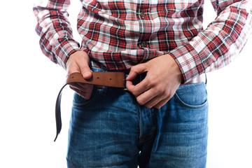 guy puts (puts) belt