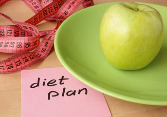 Paper with diet plan. Healthy eating.