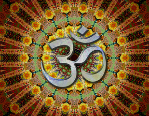 Mandala and mantra om hinduism design