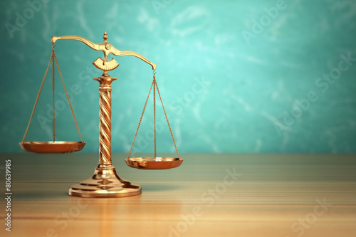 Leinwanddruck Bild Concept of justice. Law scales on green background.