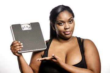 Woman with bathroom  scale