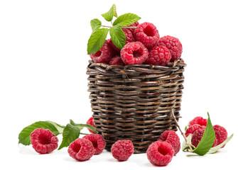 Ripe raspberries in basket
