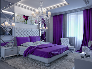 3d rendering bedroom with purple accents