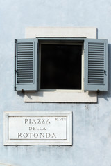 Piazza Della Rotonda sign on historic italian building in Rome