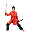 Asian woman holding a sword