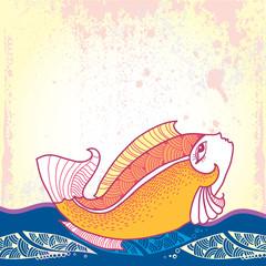 Mythological Goldfish floating on the waves.