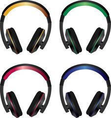 Colorful vector headphones pack