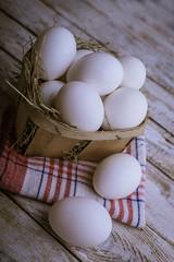 Chicken eggs in the basket
