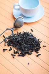 black tea with tea infuser