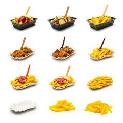 currywurst und Pommes frites set collage