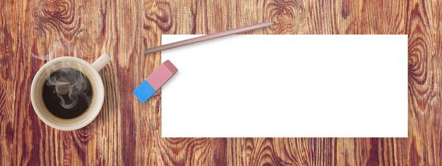 Fond page blanche sur fond de bois - Bannière