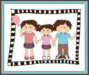 Illustration of cartoon happy family