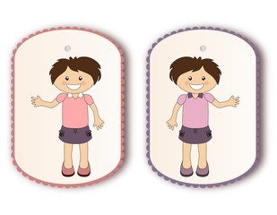 Beautiful tags with cartoon girl waving hand