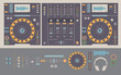 Illustration of dj mixing decks and elements. - 80642723