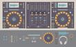 Illustration of dj mixing decks and elements. - 80642723