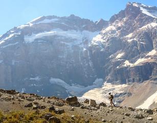 Man trekking in hight mountain