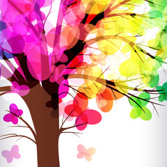 abstract background, colorfull tree.