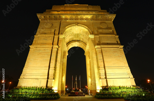 Foto op Aluminium Delhi India Gate with lights at night, New Delhi, India