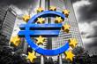 Leinwandbild Motiv Euro sign with dark dramatic clouds symbolizing financial crisis