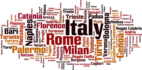 Cities in Italy word cloud concept. Vector illustration