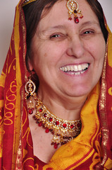 laughing senior woman in traditional Indian clothing
