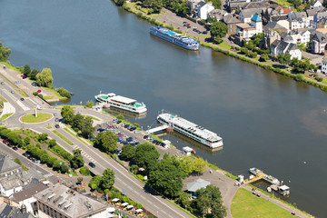 Aerial view Moselle with passenger ships in Germany