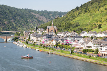 Aerial view of Cochem along river Moselle in Germany