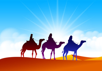 Colorful Group of Arab People with Camels Caravan Riding