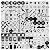 vector black universal web icons set on gray