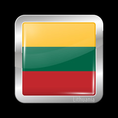 Flag of Lithuania. Metal Icons