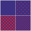 Red and dark blue tile pattern set with polka dots and hearts
