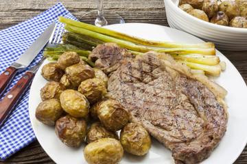 Ribeye steak and baked potatoes