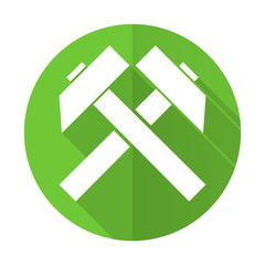 mining green flat icon