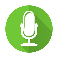 microphone green flat icon podcast sign