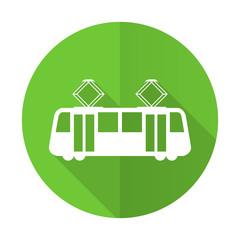 tram green flat icon public transport sign