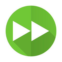 rewind green flat icon