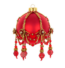 Christmas Red Ball with Beads Ornament