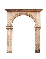 Ancient arch isolated on white background