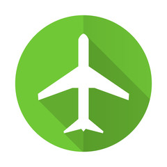 plane green flat icon airport sign