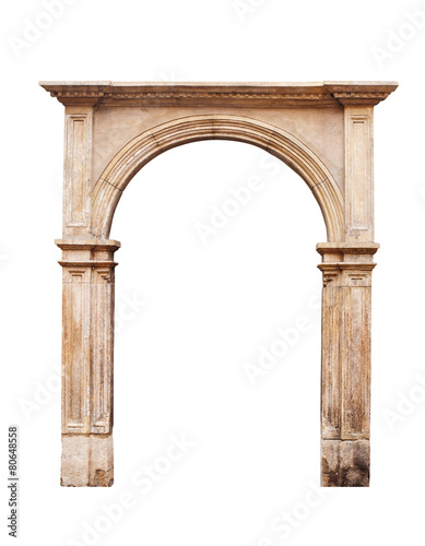 Ancient arch isolated on white background - 80648558